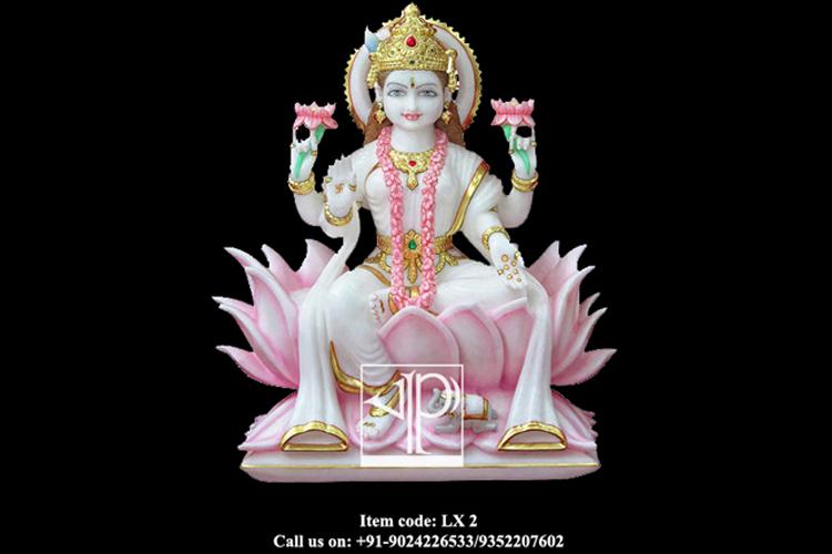 White Marble Laxmi Maa Idol Marble Laxmi Statue Marble